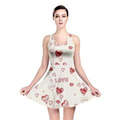 Pattern Hearts Kiss Love Lips Art Vector Reversible Skater Dress