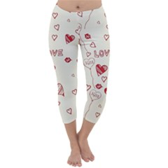 Pattern Hearts Kiss Love Lips Art Vector Capri Winter Leggings