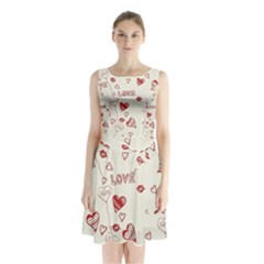 Pattern Hearts Kiss Love Lips Art Vector Sleeveless Chiffon Waist Tie Dress