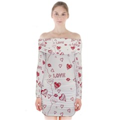 Pattern Hearts Kiss Love Lips Art Vector Long Sleeve Off Shoulder Dress