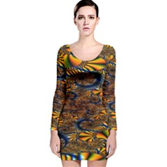 Pattern Bright Long Sleeve Velvet Bodycon Dress