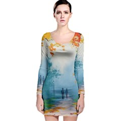 Park Nature Painting Long Sleeve Bodycon Dress