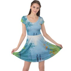 Park Nature Painting Cap Sleeve Dresses