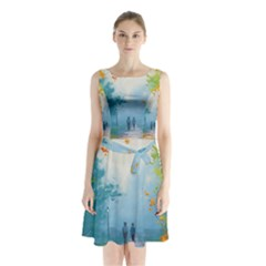 Park Nature Painting Sleeveless Chiffon Waist Tie Dress