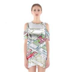 Paris Map Cutout Shoulder Dress