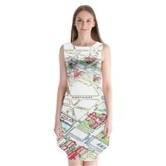 Paris Map Sleeveless Chiffon Dress
