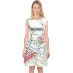 Paris Map Capsleeve Midi Dress