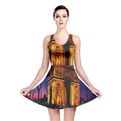 Paris Cityscapes Lights Multicolor France Reversible Skater Dress