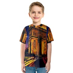 Paris Cityscapes Lights Multicolor France Kids  Sport Mesh Tee