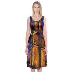 Paris Cityscapes Lights Multicolor France Midi Sleeveless Dress