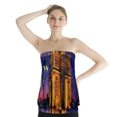 Paris Cityscapes Lights Multicolor France Strapless Top