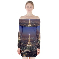 Paris At Night Long Sleeve Off Shoulder Dress