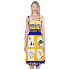 Flag Of Huntington Beach, California Midi Sleeveless Dress