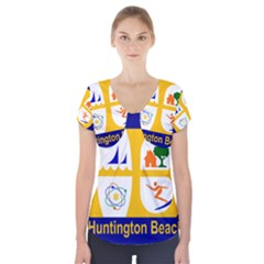Flag Of Huntington Beach, California Short Sleeve Front Detail Top