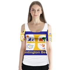 Flag Of Huntington Beach, California Butterfly Sleeve Cutout Tee