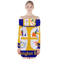 Flag Of Huntington Beach, California Long Sleeve Off Shoulder Dress