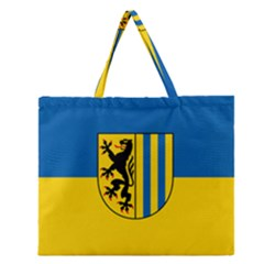 Flag Of Leipzig Zipper Large Tote Bag