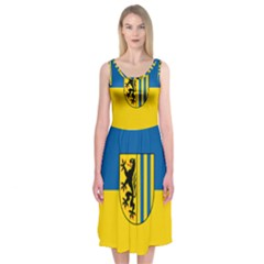 Flag Of Leipzig Midi Sleeveless Dress