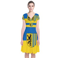 Flag Of Leipzig Short Sleeve Front Wrap Dress