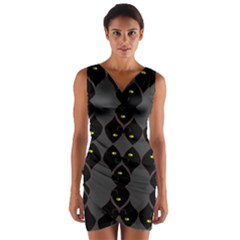 Holistic Wine Wrap Front Bodycon Dress