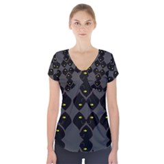 Holistic Wine Short Sleeve Front Detail Top
