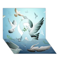 Animated Nature Wallpaper Animated Bird Ribbon 3D Greeting Card (7x5)