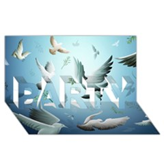 Animated Nature Wallpaper Animated Bird PARTY 3D Greeting Card (8x4)