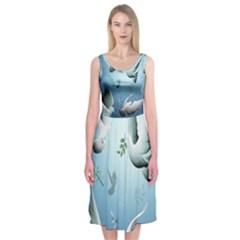Animated Nature Wallpaper Animated Bird Midi Sleeveless Dress