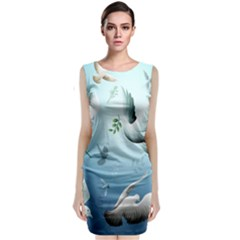 Animated Nature Wallpaper Animated Bird Classic Sleeveless Midi Dress