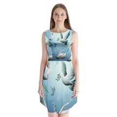 Animated Nature Wallpaper Animated Bird Sleeveless Chiffon Dress