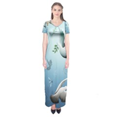 Animated Nature Wallpaper Animated Bird Short Sleeve Maxi Dress