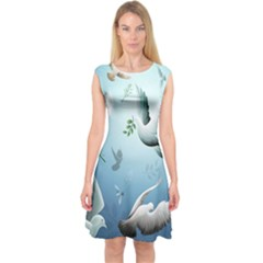 Animated Nature Wallpaper Animated Bird Capsleeve Midi Dress
