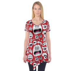 Another Monster Pattern Short Sleeve Tunic