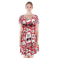 Another Monster Pattern Short Sleeve V-neck Flare Dress