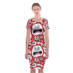Another Monster Pattern Classic Short Sleeve Midi Dress