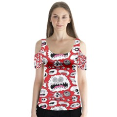 Another Monster Pattern Butterfly Sleeve Cutout Tee