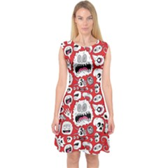 Another Monster Pattern Capsleeve Midi Dress
