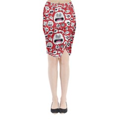 Another Monster Pattern Midi Wrap Pencil Skirt
