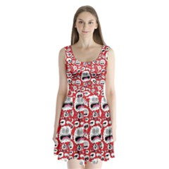 Another Monster Pattern Split Back Mini Dress