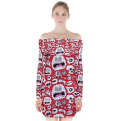 Another Monster Pattern Long Sleeve Off Shoulder Dress
