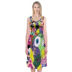 Another Weird Pattern Midi Sleeveless Dress