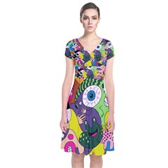 Another Weird Pattern Short Sleeve Front Wrap Dress