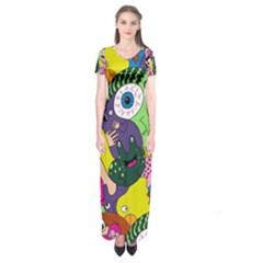 Another Weird Pattern Short Sleeve Maxi Dress