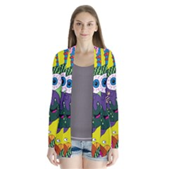 Another Weird Pattern Drape Collar Cardigan