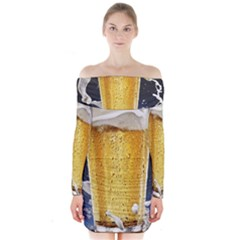 Beer 1 Long Sleeve Off Shoulder Dress