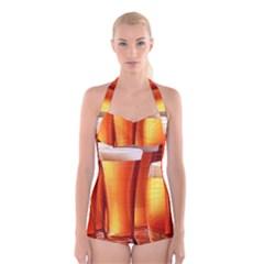 Beer Wallpaper Wide Boyleg Halter Swimsuit