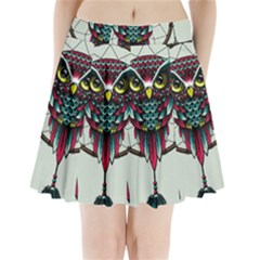 Bird Pleated Mini Skirt