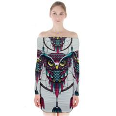 Bird Long Sleeve Off Shoulder Dress