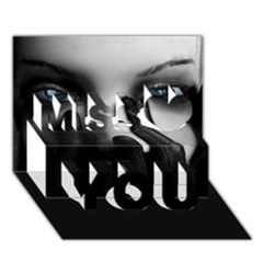 Black And White Miss You 3d Greeting Card (7x5)