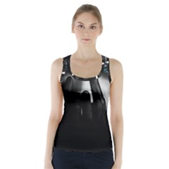 Black And White Racer Back Sports Top